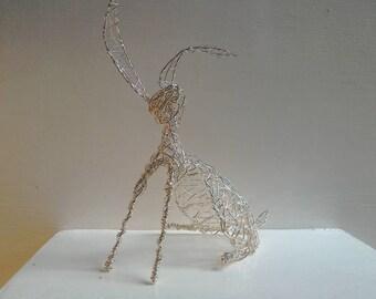 Silver Wirework Hare. Handmade sculpture.