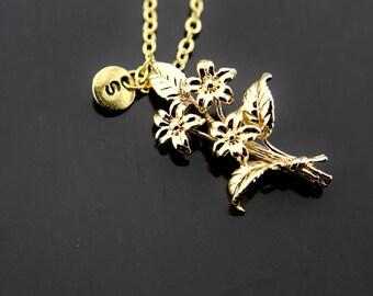 Flower Bouquet Necklace, Gold Flower Bouquet Charm Necklace, Floral Bouquet Necklace, Personalized Necklace, Initial Charm, Initial Necklace