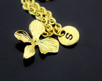 Gold Clover Necklace, Four Leaf Clover Charm Necklace, Four Leaf Clover Charms, Personalized Necklace, Initial Necklace, Gold Leaf Jewelry