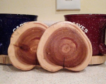 Log coasters, drink coasters, table protectors, kitchen accessories, table accessories, cabin decor, cottage decor