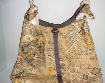 Large Hobo Tote With French Influence!  Tie Straps Add a Special European Flair To This Beautiful Bag!