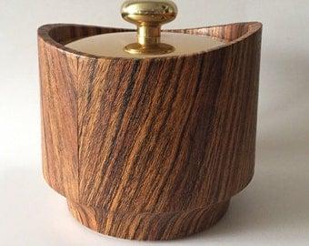 Vintage Kraftware Mid Century Ice Bucket, Gold Tone Metal & Faux Wood Plastic.
