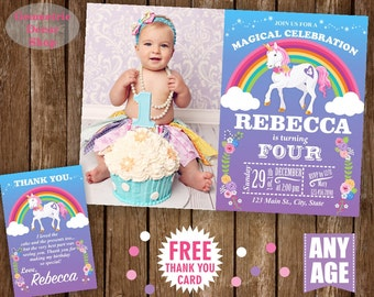 Unicorn Birthday Invitation Purple Invitations Girl Invite Pink Invites Magical Day Rainbow Birthday Thank you card Photo Photograph BDU5