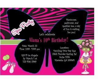 5x7 Printable Spa Party Birthday Invitation- Butterfly- Pink Zebra