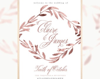 Rose Gold Wedding, Welcome Sign, Palace Garden, Printable Welcome Sign, Wedding Welcome Sign, Birthday Sign, Engagement Sign, Stationary