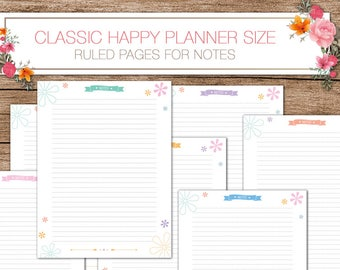 Happy planner printable planner inserts -  PDF 7 x 9.25 Classic Happy Planner - ruled pages for notes