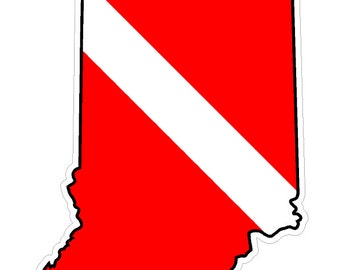 Indiana State (Y15) Diver Down Flag Vinyl Decal Sticker Car Laptop/Netbook