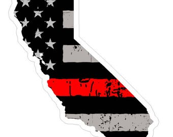 California State (C7) Thin Red Line Vinyl Decal Sticker Car/Truck Laptop/Netbook Window