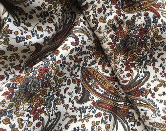 Diamond Silks Ltd Paisley Satin Fabric - New, Perfect and Unused from 1970s Vintage Stock