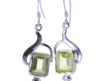 Lemon Quartz Earrings, 925 Sterling Silver, Unique only 1 piece available! color yellow, weight 5.3g, #32346