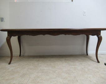 Vintage Italian Walnut Carved Farm Work Dining Room Table