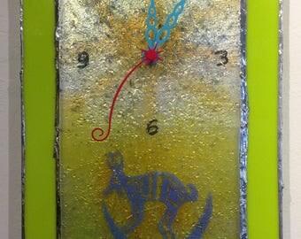 Mimbres Rabbit Deco Fusion wall clock