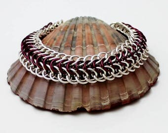 Silver Plated Chainmaille Bracelet, Violet Bracelet, Silver Bracelet, Chain Mail Bracelet, Chainmail Bracelet