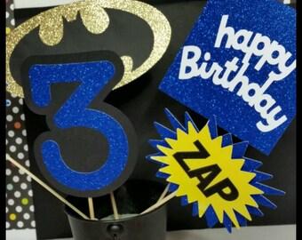5 pc Glitter  Superhero Themed Centerpiece, Superhero Cake Toppers