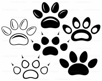 Paw prints svg,paw clipart,bear paw svg,animal lover silhouette,puppy cricut,dog cut files,clip art,digital download,designs,svg,dxf