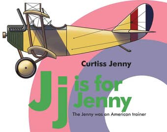 Alphabet letter J airplane decor Curtiss Jenny boys room digital download can be personalized with name aeroplane