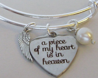 A Piece Of My Heart  Bange Bracelet W/  Fresh Water Pearl - Silver Wing -  Lost Of A Love One CHILD /  Infant - Gift For Her Usa P1