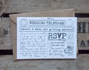Rustic Vintage Wedding Invitations White Telegram
