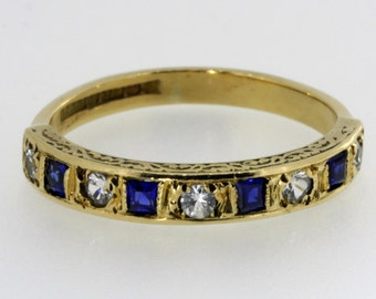Vintage 9ct Gold Sapphire and Paste Ring - 20%OFF SALE
