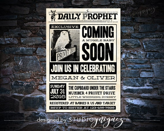 image relating to Daily Prophet Printable identify Printable Everyday Prophet: Harry Potter Child Shower Invitation