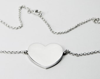 Full Heart Necklace - Silver 925 - Chain Necklace with Heart
