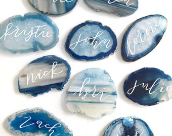 Blue agate place cards, Wedding place cards, Geode slices, Place cards, Agate slices, Agate calligraphy, Wedding calligraphy