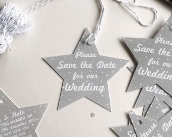 50 Save the Date Star Shaped Hangers Starry Night collection Wedding Save the Dates Luggage Tags