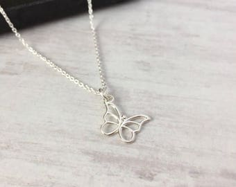Sterling Silver Butterfly Necklace/Open Butterfly/Hanging Butterfly/Butterfly Charm/Everyday Wear/Layered/Gift/UK