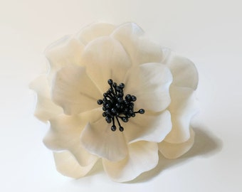 White and Black Open Rose Sugar Flower for wedding cake toppers, fondant decorations, bridal showers, gumpaste flower bouquet, cake decor