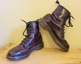 Awesome Vintage Early 90's Doc Marten's Red Leather Combat Boots