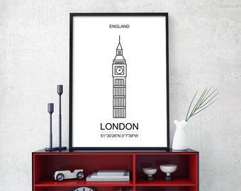 London Skyline Geometric Print, London Minimalist Poster, London Geometric, Black and white Travel Poster, London Large 18x24, 24x36 (W0134)