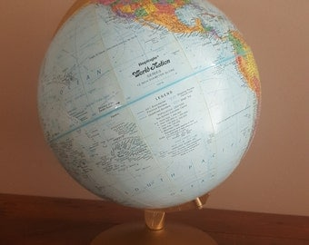 Vintage World Globe, 12 Inch by Replogle Globe, MCM Design, Mid Century Modern Metal Base, Map, World Map, Globe, School, Library, Home