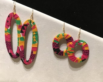 Kente cloth wrapped earrings, african inspired earrings, hoop earrings, cloth earrings, drop earrings, colorful earrings, african jewelry