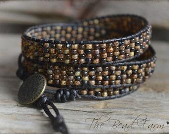 Beaded Wrap Bracelet, Wrap Cuff Bracelet, Casual Wrap Bracelet, Brown Wrap Bracelet, Leather Wrap Bracelet, Triple Wrap Boho Bracelet