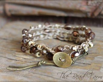 Beaded Crochet Jewelry,  Crochet Beaded Bracelet, Crocheted Jewelry, Beaded Wrap Bracelet, Wrap Bracelets, Crocheted Wrap Bracelets