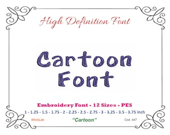 Embroidery font cartoon