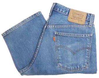 Vintage Levis 618 Mens Jeans 90s Orange Tab Button Fly Stonewash Blue Denim High Waist W35 L30