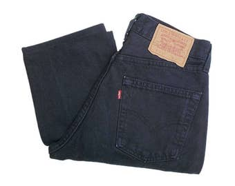 Vintage Levis 510 Jeans 90s UK Made Tapered Leg Button Fly Dark Blue/Black W28 L28.5