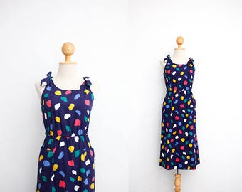 70s Japanese Cotton Summer Sun Dress | Navy Blue Sleeveless Dress with Pockets | Pop Geometric Graphic Print | Midi Day Beach Dress | XS