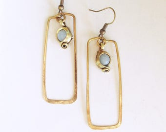 Geometric and ethnic curls - patina brass - amazonite - rectangle - hammered-