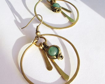 Creole ethnic green - patina brass - aventurine - hammered-