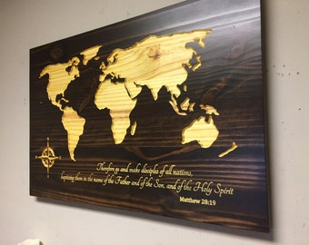 Wooden World Map Map Wall Art Large Carved Map Vintage Map
