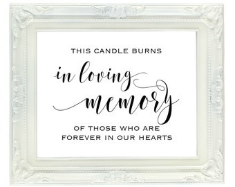 This Candle Burns In Loving Memory Of Those Who Are Forever In Our Hearts, Printable Wedding Sign, Digital Memorial Sign, Instant Download