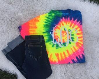 Youth monogram shirt, youth tie dye shirt, tie dye monogram shirt, youth shirt