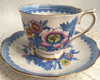 Royal Albert Bone China Tea Cup and Saucer, Hand Painted Floral with Blue Trim, 1940s
