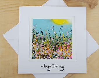 Handmade Birthday Card.  Art Print Card. Greeting Card. Thank You. Just For You. With Love. Thinking if You. Get Well Soon.