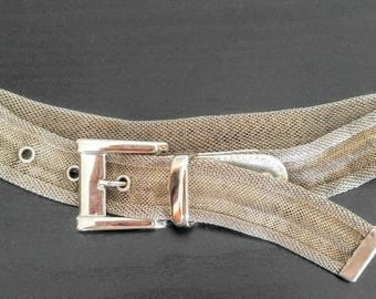 VERY UNUSUAL Silver Metal Vintage Belt-All Metal Mesh-Signed Ann Taylor Piece-Size Medium-Retro, Industrial-All Orders Only 99c Shipping!!