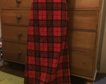 Long floor length vintage wool red tartan plaid skirt