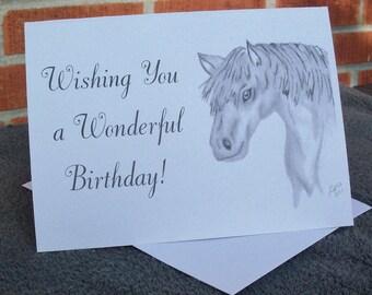 Birthday Greeting  Card / Horse Birthday Card / Horse Greeting Card / Horse  Note Card /  Horse Birthday Note Card / Horse Art  BG1