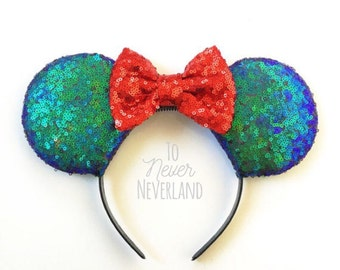 Little Mermaid Mickey Ears, Ariel Mickey Ears, Little Mermaid Sequin Mickey Ears, Sequin Minnie Ears, Sequin Mickey Ears,Little Mermaid Ears